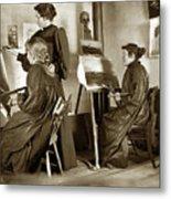Art Class Oil Painting Teacher  And Art Students 1900 Metal Print