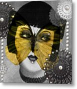 Art Deco Butterfly Woman Metal Print
