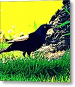 Art Deco Grackle Metal Print