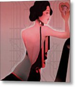 Art Deco Valentine Greeting Metal Print