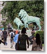 Art Institute Of Chicago Bronze Lions Metal Print