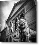 Art Institute Of Chicago Lion Statue In Black And White Metal Print