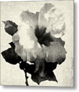 Art Is The Hibiscus -black And White Metal Print