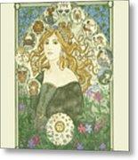 Art Nouveau Goddess Of Astrology Metal Print