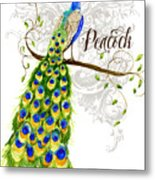 Art Nouveau Peacock W Swirl Tree Branch And Scrolls Metal Print
