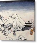 Art Of Buddhism And Shintoism And Two Paths In The Snow Metal Print
