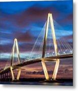 Arthur Ravenel Bridge At Night Metal Print