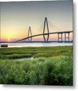 Arthur Ravenel Bridge Sunset Metal Print