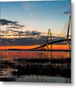 Arthur Ravenel Bridge Twilight Metal Print