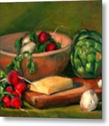 Artichoke And Radishes Metal Print