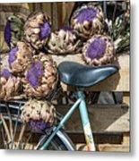 Artichoke Flowers With Bicycle Metal Print