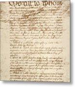 Articles Of Confederation Metal Print