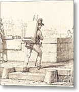Artist Carrying Easel With A Lithographic Stone Metal Print