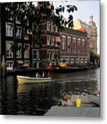 Artist On Amsterdam Canal Metal Print
