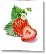 Artz Vitamins A Strawberry Heart Metal Print