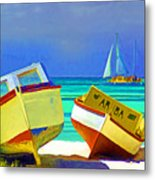 Aruba Boats Metal Print