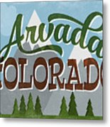 Arvada Colorado Snowy Mountains	 Metal Print
