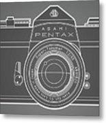 Asahi Pentax 35mm Analog Slr Camera Line Art Graphic White Outline Metal Print