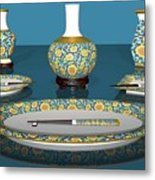 Asian Dining And Vases Metal Print
