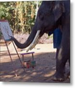 Asian Elephant Painting Picture Metal Print
