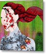 Asian Flower Woman Red Metal Print