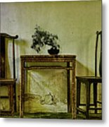 Asian Furniture And Bonsai Metal Print