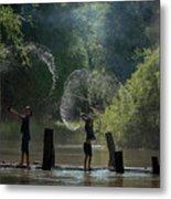 Asian Girl Playing Water In River Metal Print