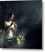 Asian People With Cooking, Living In Rural Countryside, Rural Th Metal Print