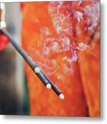 Asian Woman Holding Incense Sticks During Hindu Ceremony In Bali, Indonesia Metal Print