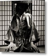 Asian Woman In Kimono Metal Print