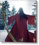 Asian Woman In Red Kimono Dancing In The Snow Spinning Around To Metal Print