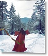 Asian Woman In Red Kimono Dancing On The Snow In The Forest Metal Print