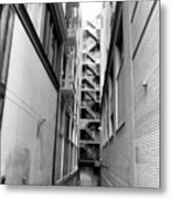 Asian Woman Sitting In Alley Metal Print