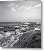 Asilomar Beach Stairway In Black And White Metal Print