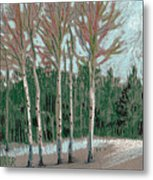 Aspen In The Snow Metal Print