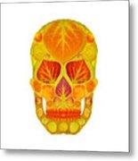 Aspen Leaf Skull 13 Metal Print