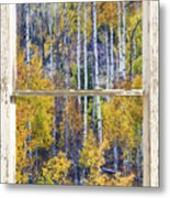 Aspen Tree Magic Cottonwood Pass White Farm House Window Art Metal Print