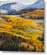 Aspens And Mountains In The Morning Light Metal Print