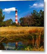 Assateague Lighthouse Reflection Metal Print