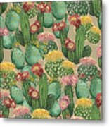 Assorted Blooming Cactus Plants Metal Print