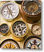 Assorted Compasses Metal Print