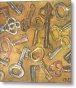 Assorted Skeleton Keys Metal Print