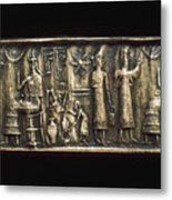 Assyrian Cylindrical Seal Metal Print