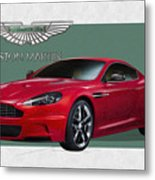 Aston Martin  D B S  V 12  With 3 D Badge  Metal Print by Serge Averbukh