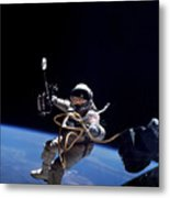 Astronaut Floats In Space Metal Print