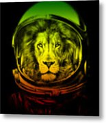 Astronaut Lion Colorful Ready For Space Metal Print