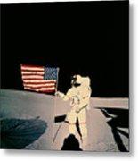 Astronaut With Us Flag On Moon Metal Print