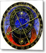 Astronomical Clock In Grunge Style Metal Print