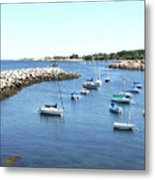 At Anchor In Rockport Ma Harbor Metal Print