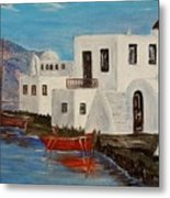 At Home In Greece Metal Print